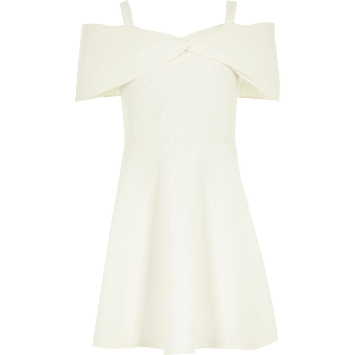 Girls cream waffle bow bardot dress