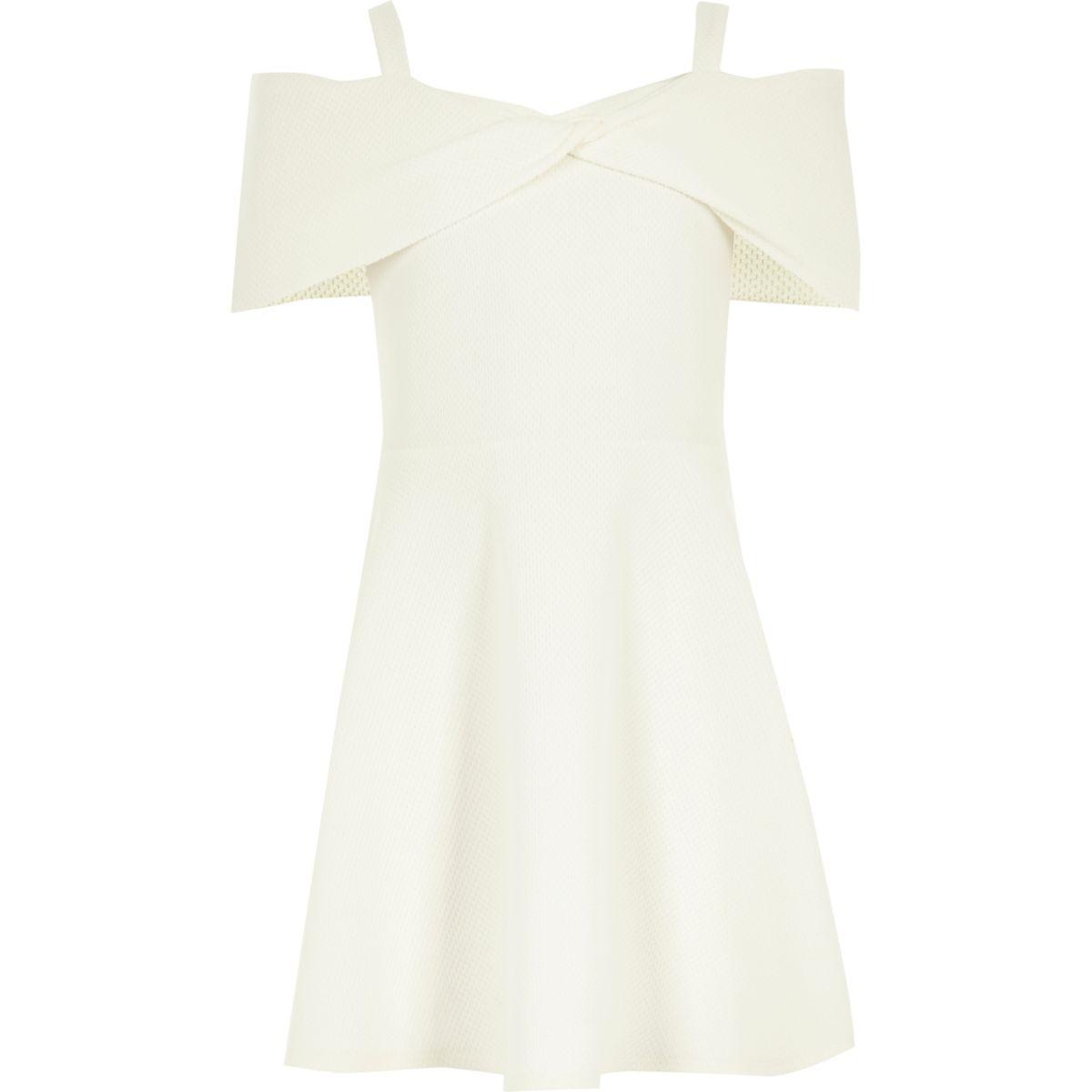 Girls cream waffle bow bardot dress