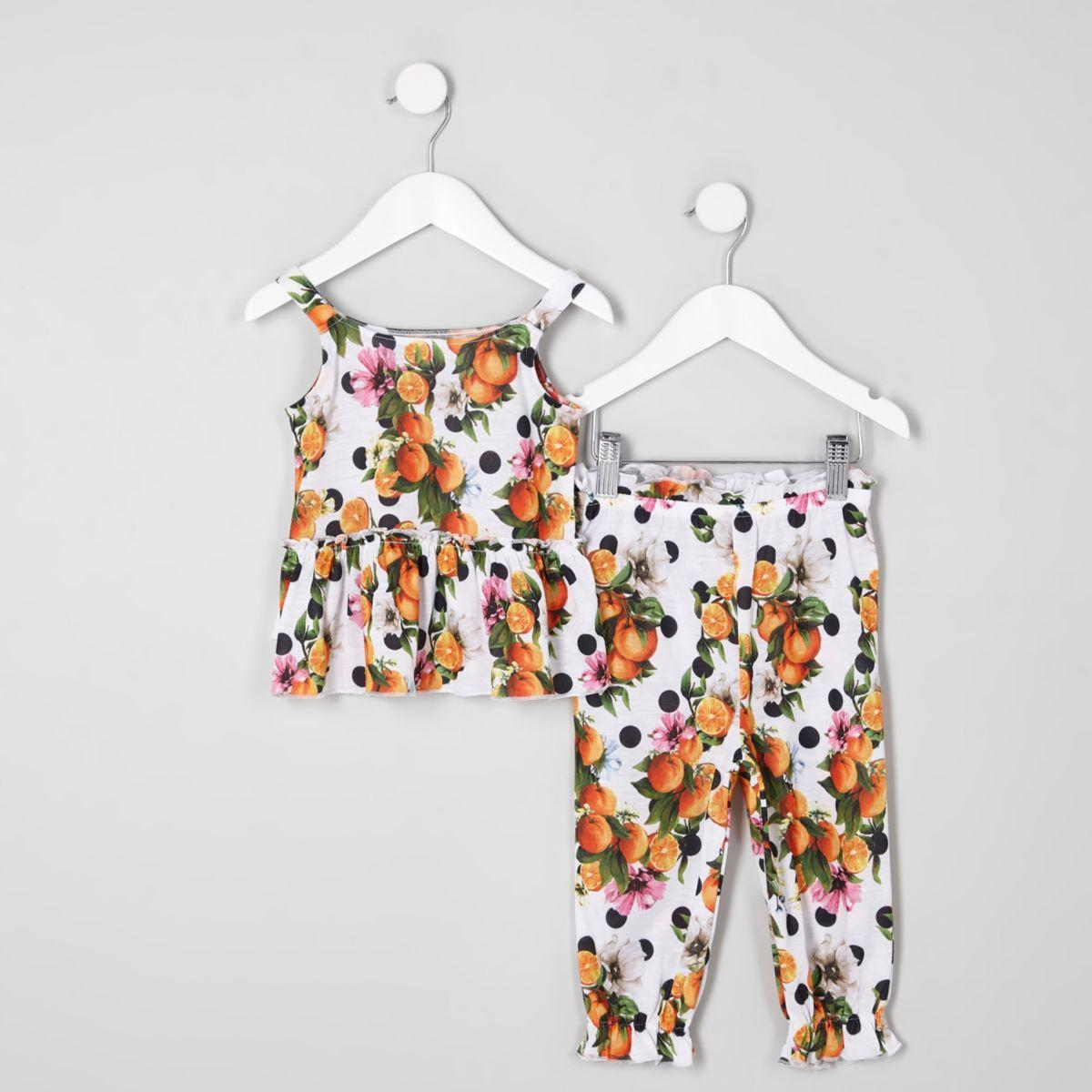 Mini girls white polka dot cami top outfit