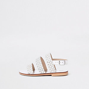 Mini girls white pearl sling back sandals