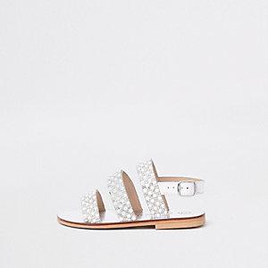 Sandales blanches à bride arrière ornées de perles mini fille