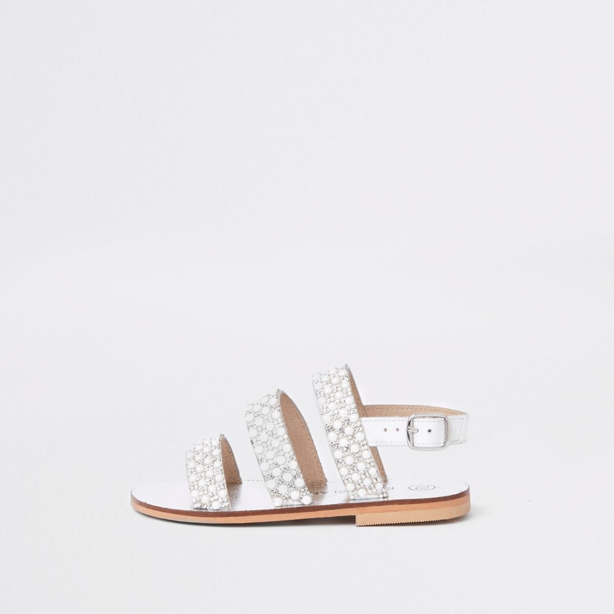 Mini girls white pearl sling back sandals