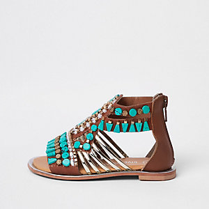 Mini girls turquoise gem T-bar sandals