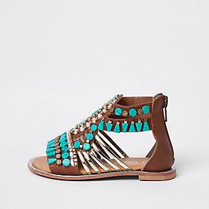 Mini - Turquoise sandalen met T-bandje en siersteentjes voor meisjes