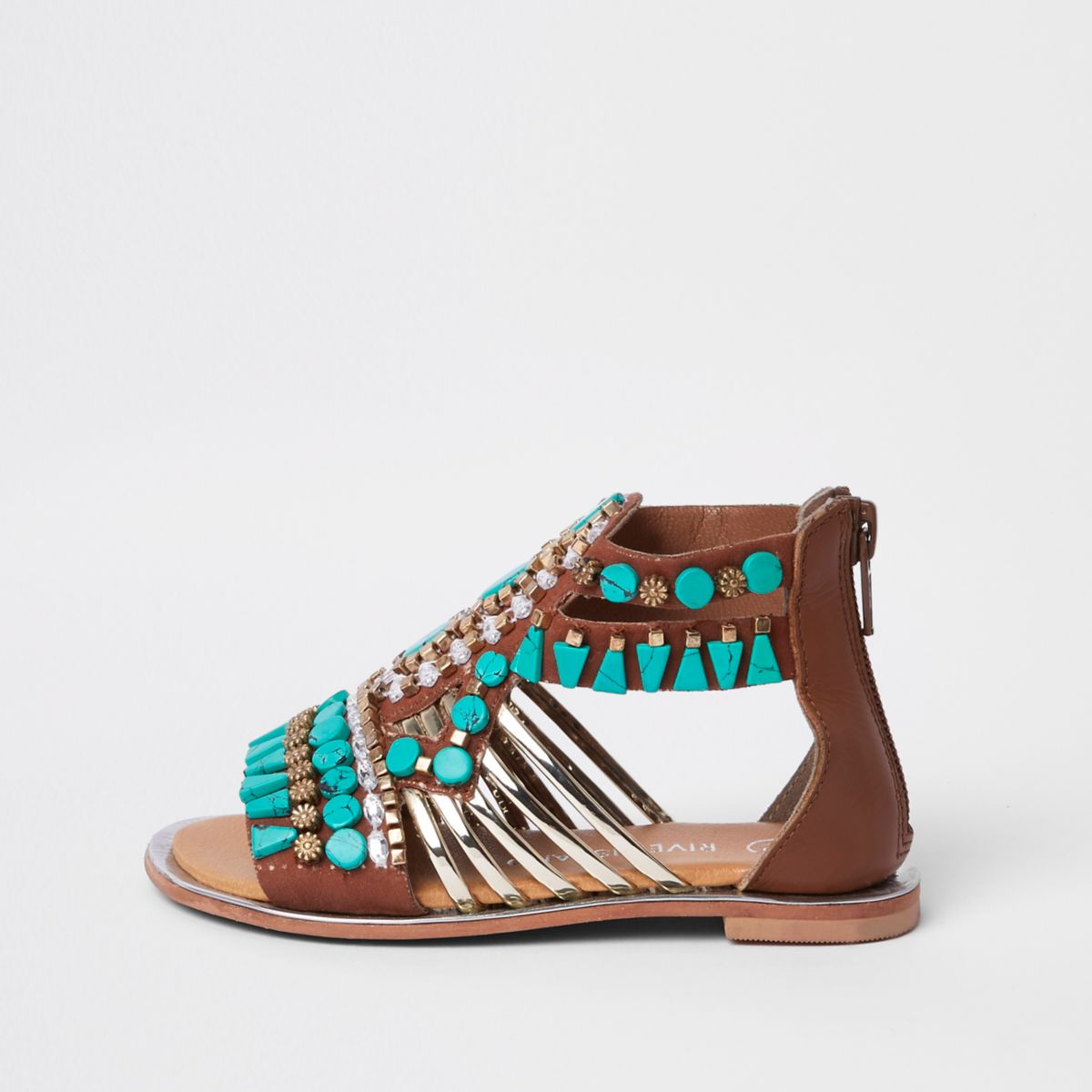 Mini girls turquoise gem T-bar sandals