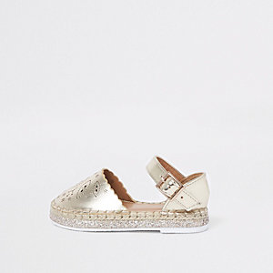Mini girls gold laser cut espadrille sandals