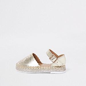 Mini girls gold laser cut espadrille sandals