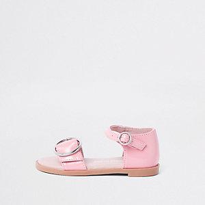 Sandales roses vernies à boucle mini fille