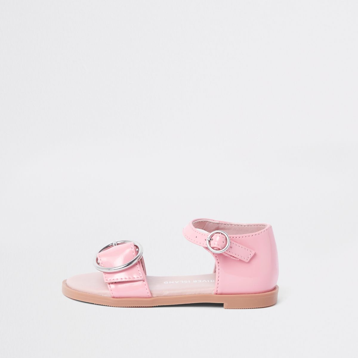 Mini girls pink patent buckle sandals