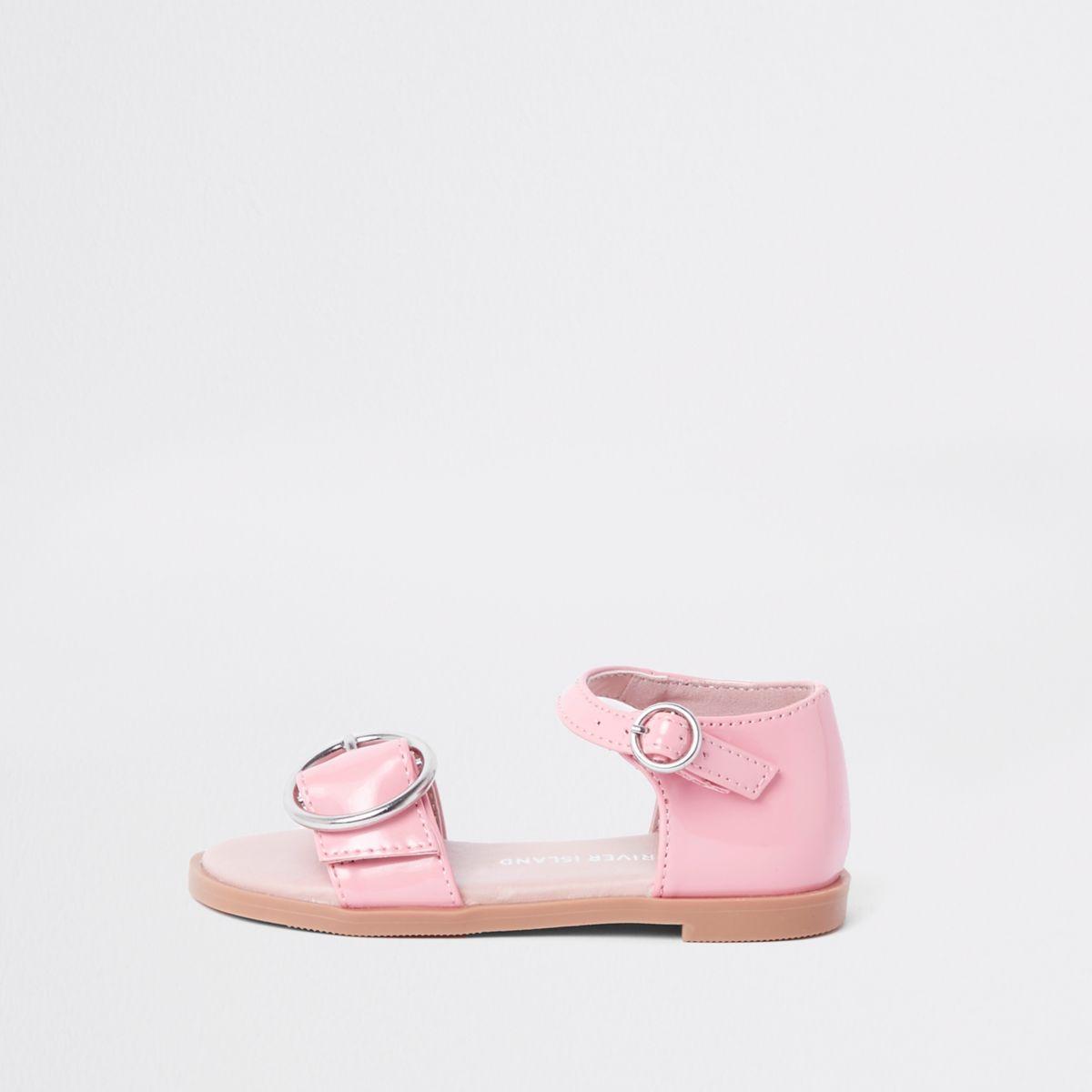 Mini girls pink patent buckle sandals
