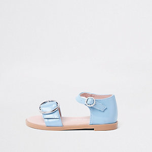 Mini girls blue patent buckle sandals