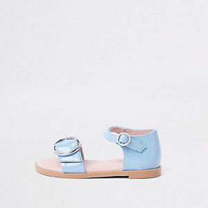 Mini - Blauwe lakleren sandalen met gesp voor meisjes