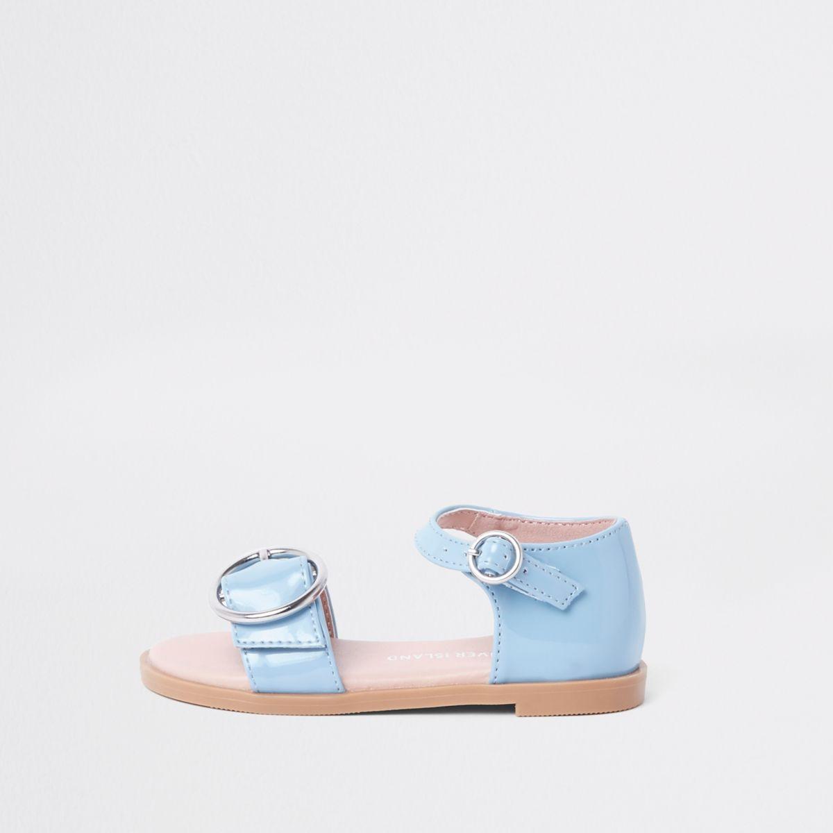 Mini girls blue patent buckle sandals
