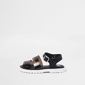 Mini - Zwarte jelly sandalen met dikke zool en bandjes voor meisjes