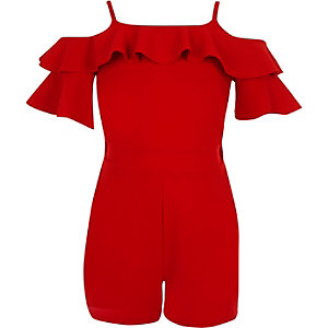 Girls red cold shoulder ruffle romper