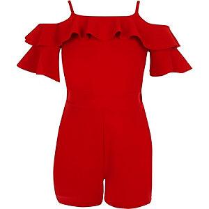 Girls red cold shoulder ruffle romper
