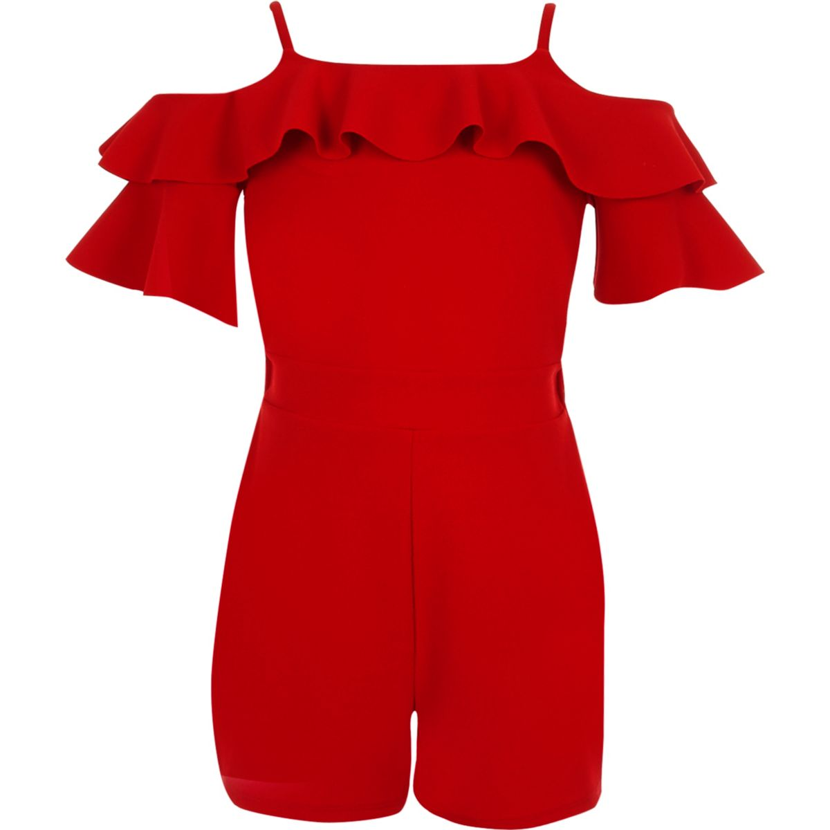 Girls red cold shoulder ruffle playsuit
