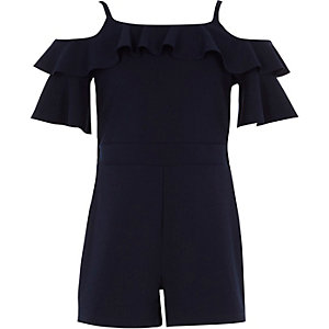 Girls navy cold shoulder ruffle romper