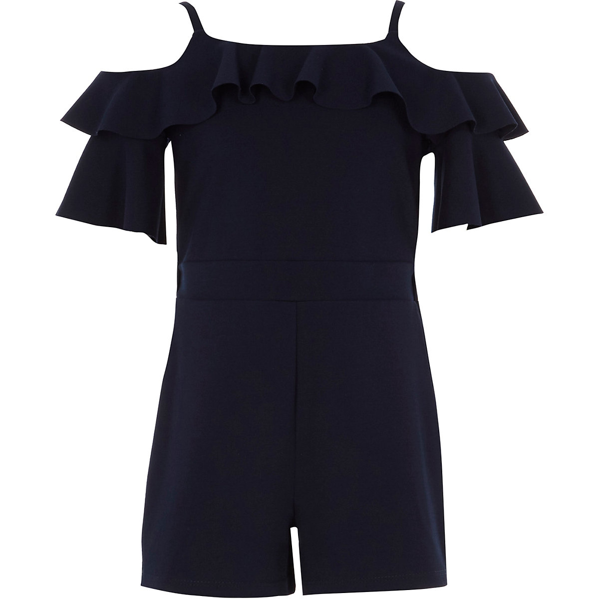 Girls navy cold shoulder ruffle playsuit