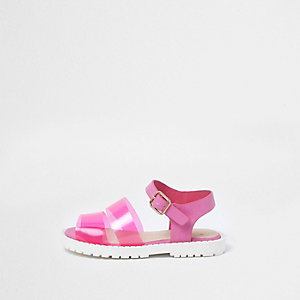 Mini - Roze jelly sandalen met bandjes voor meisjes
