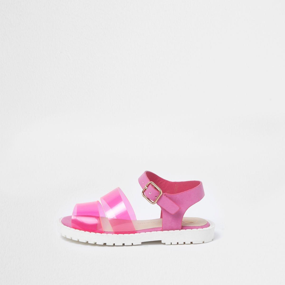 Mini girls pink jelly strap sandals