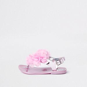 Mini - Roze metallic jersey sandalen met corsage