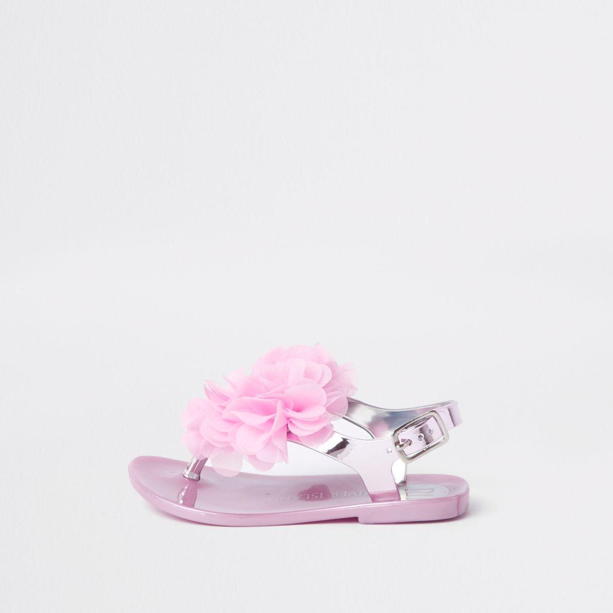 Mini girls pink metallic jelly corsage sandal