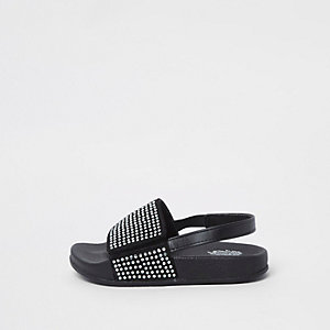 Mini girl black diamante sliders