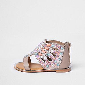 Mini - Roze verfraaide sandalen met T-bandje en siersteentjes voor meisjes