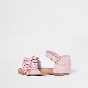 Mini girls pink fringed sandal