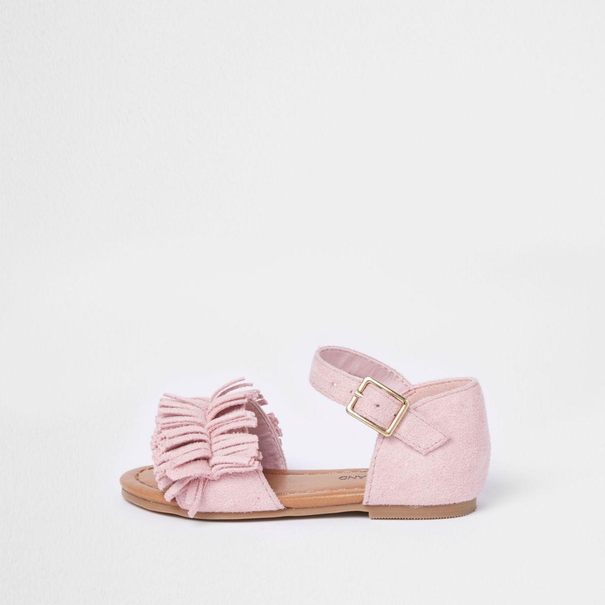 Mini girls pink fringed sandal