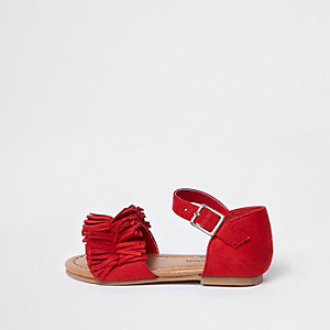 Mini girls red fringed sandals