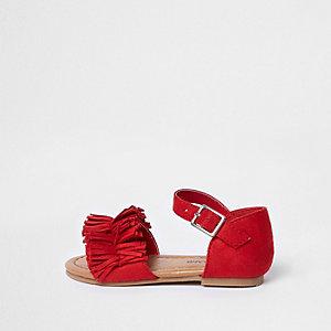Mini - Rode sandalen met franje voor meisjes