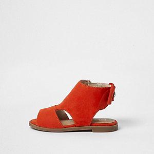 Mini - Rode schoenlaarsjes met strik achter voor meisjes