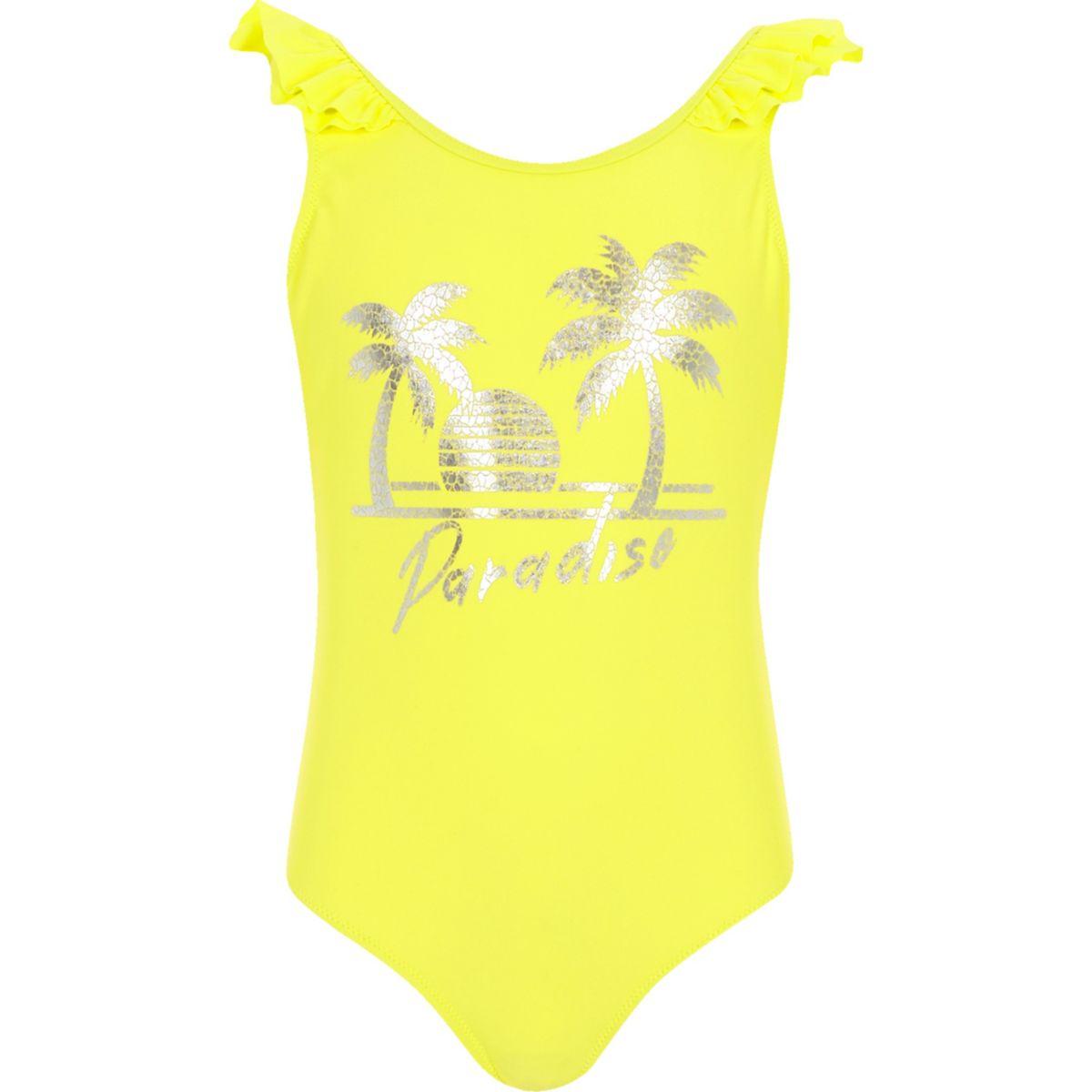 Maillot une-pièce « Paradise » jaune pour fille