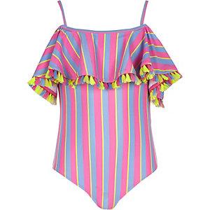 Rosa Bardot-Badeanzug mit Rüschen und Streifen