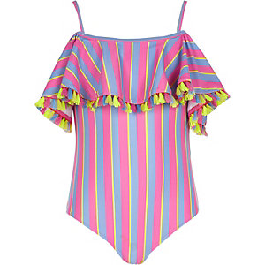 Girls pink bardot stripe frill swimsuit