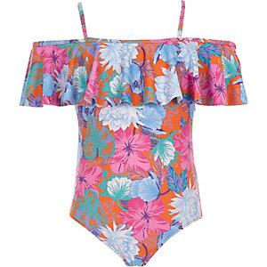 Oranje zwempak in bardotstijl met bloemenprint en ruches voor meisjes