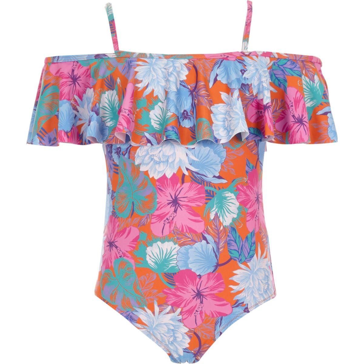 Girls orange floral frill bardot swimsuit