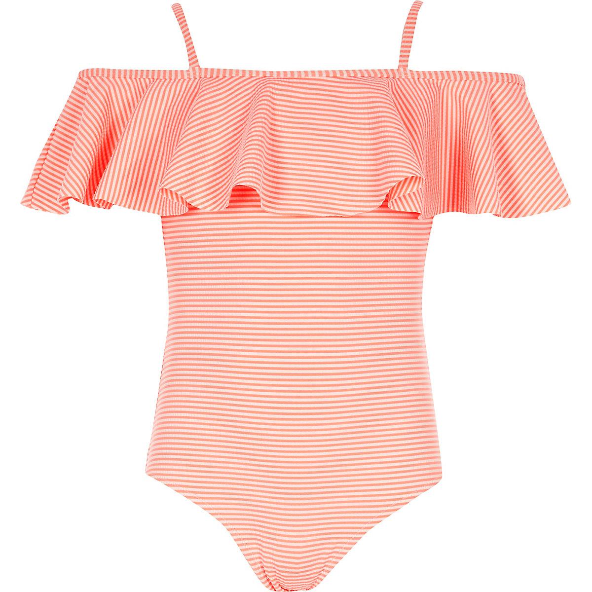 Girls coral stripe frill bardot swimsuit