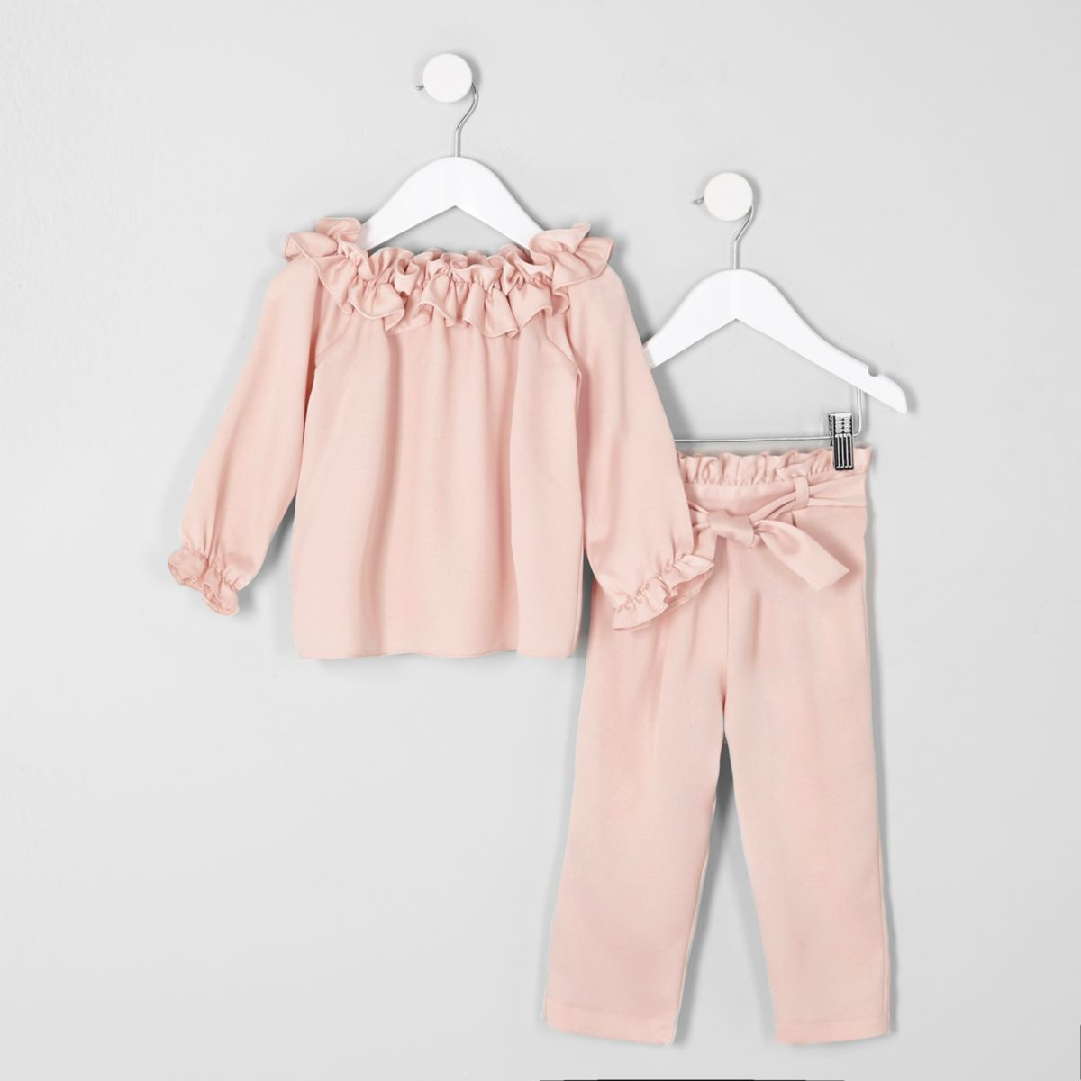 Mini girls pink bardot top and trouser outfit
