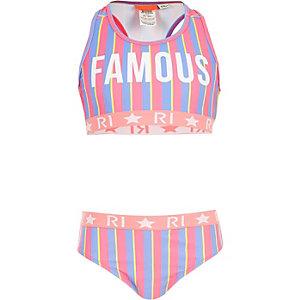 Roze bikini met 'Famous'-print voor meisjes