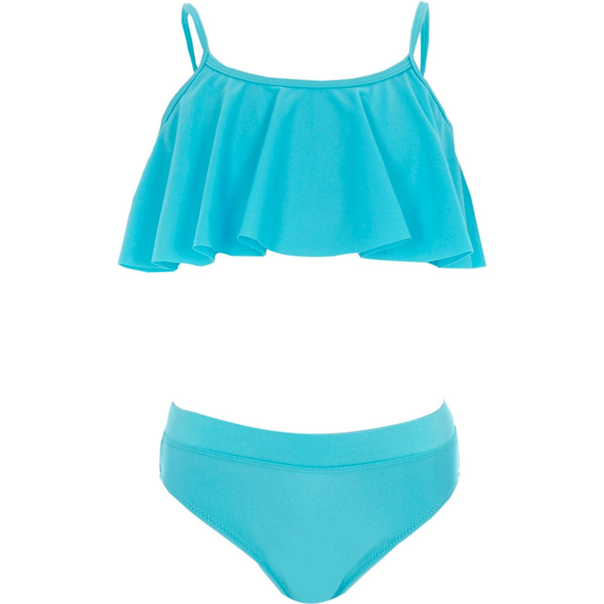 Girls blue metallic frill tankini