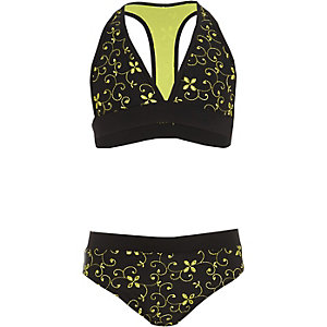 Ensemble bikini triangle en broderie anglaise noir pour fille