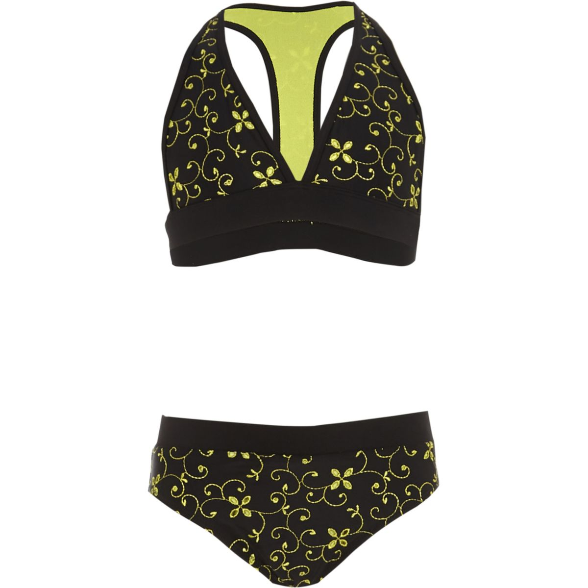 Girls black broderie triangle bikini set