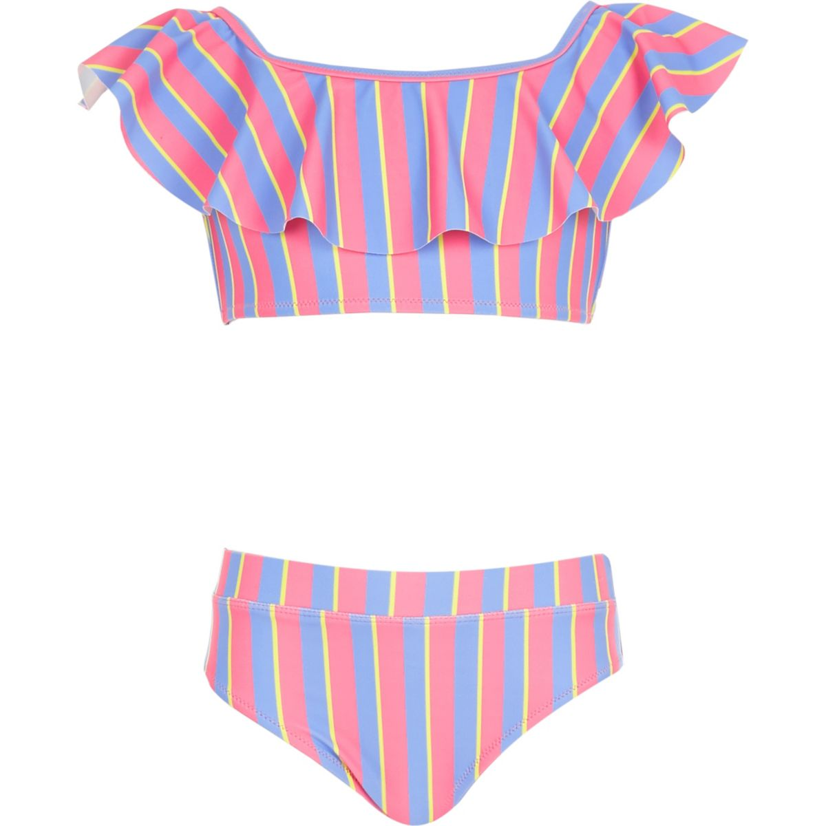 Girls pink stripe bardot tankini