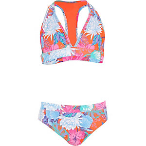 Orange floral print triangle bikini set