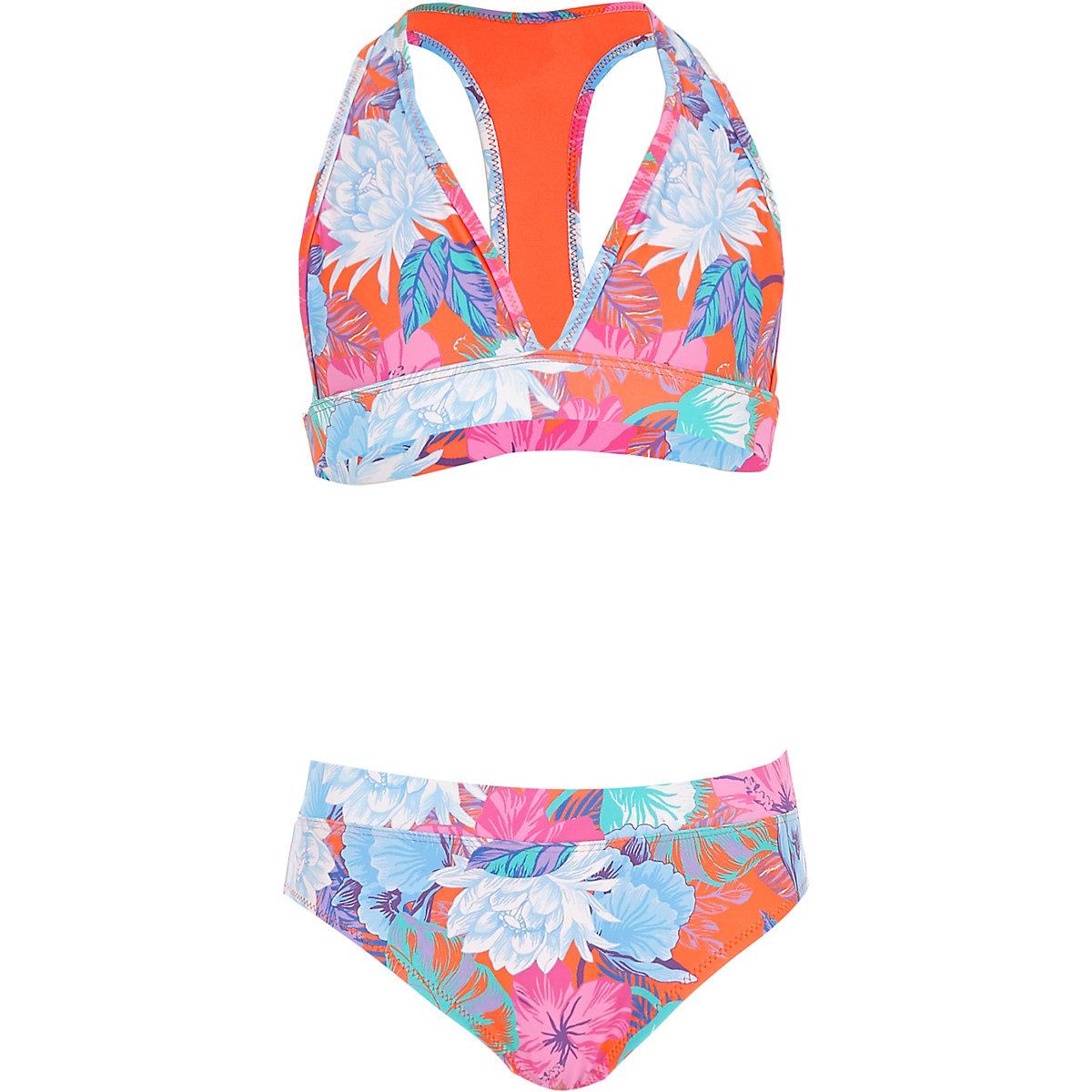 Orange floral print triangle bikini set