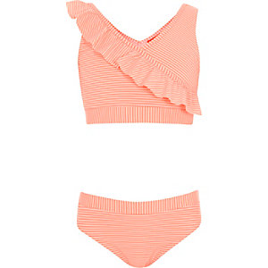 Girls coral stripe frill tankini