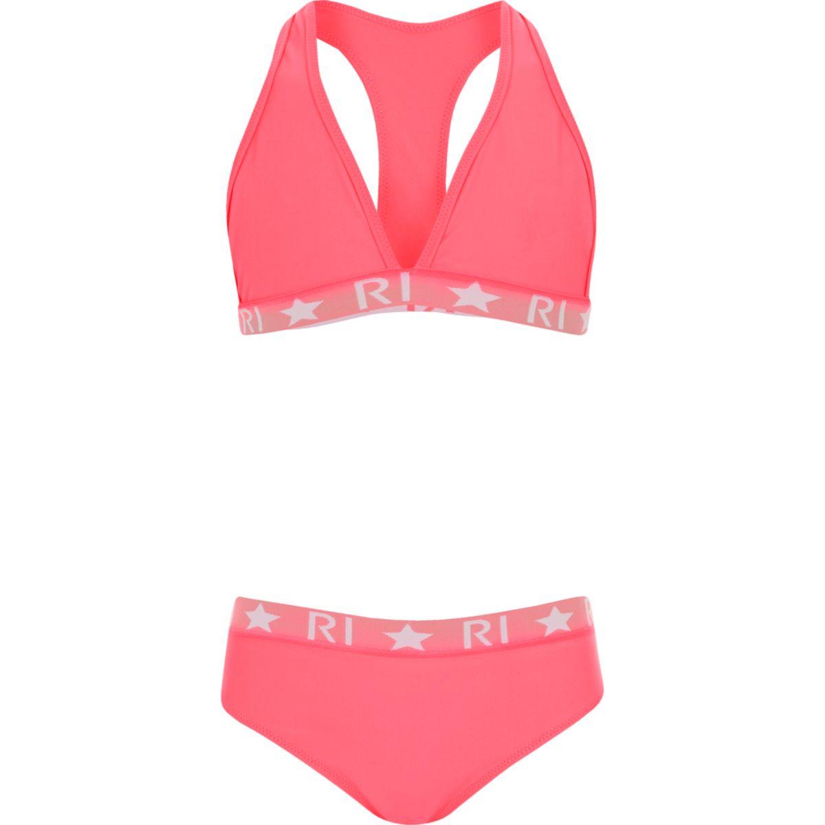 Girls RI bright pink tankini